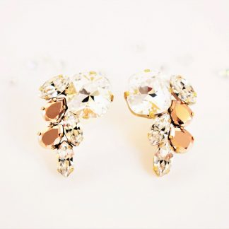 Rose gold cluster earrings 1