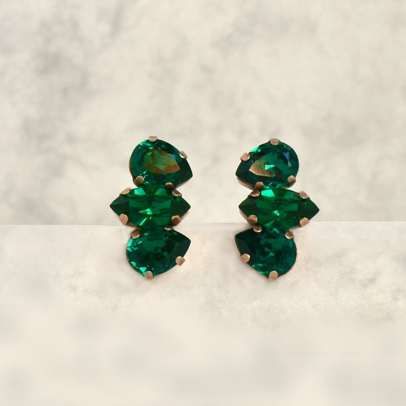 Dainty Green Stud Earrings With Swarovski Emerald Crystals