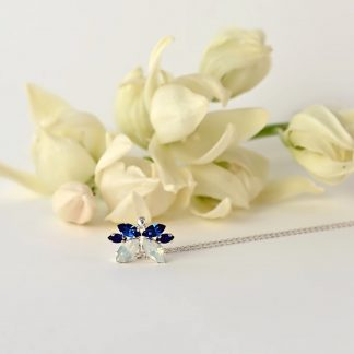 Blue and white opal necklace 1